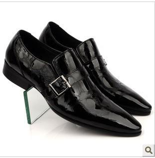 42483c9ca Real Men s Pointed Toe Dress Shoe. Black Italian Patent Leather Slip ...