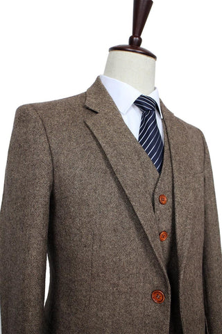 Classic Brown Tweed Blazer. Gentleman Formal Wear, Tailor Custom Made Suit, 3 Piece