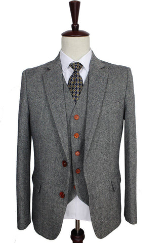 Men's Gray Retro Woolen Tweed Suit. Gentleman Formal Wear, Tailor Custom Made Suit, 3 Piece