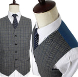 Mens' Grey Woolen Tweed Suit, Retro Style.  Tailor Custom Made Wedding Suits, 3 piece suit