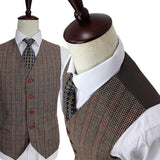 Quality Brown Classic Woolen Tweed Suit. Mens' Formal Wear, Tailor Custom Made, 3 Piece Suit.