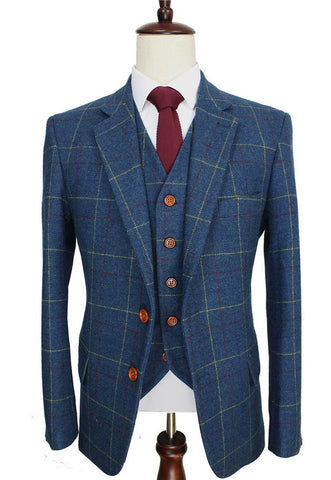 Checked-Blue Woolen Tweed Suit. Men Formal Wear, Tailor Custom Made Blazer, 3 Piece