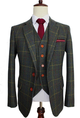 Checkered-Green Woolen Tweed Suit. Men Formal Wear, Tailor Custom Made Blazer, 3 Piece