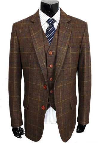 Mens' Woolen Brown Tweed Blazer. Tailor Custom Made Formal Suit, 3 Piece Suit