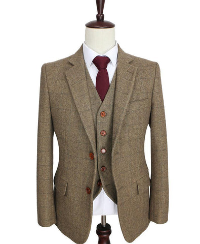 Mens' Brown Woolen Tweed Suit. Tailor Custom Made, 3 Piece Blazer