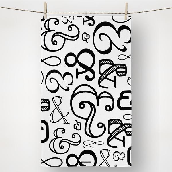 kitchen towel with ampersand symbols