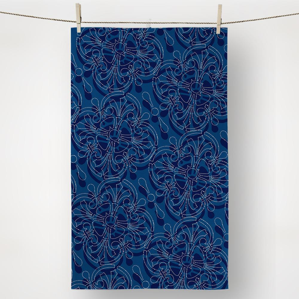blue bandanna kitchen towel pattern