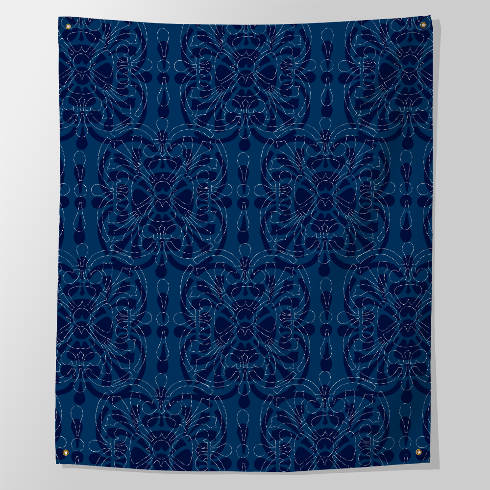 blue bandanna indigo wall decor tapestry