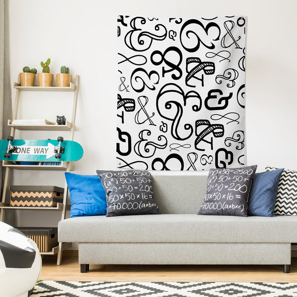 Ampersand Black & White Wall Tapestry