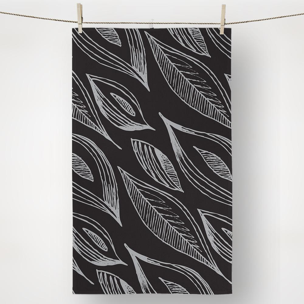 Bio Leaves Hand Illustrated Black Kitchen Towel