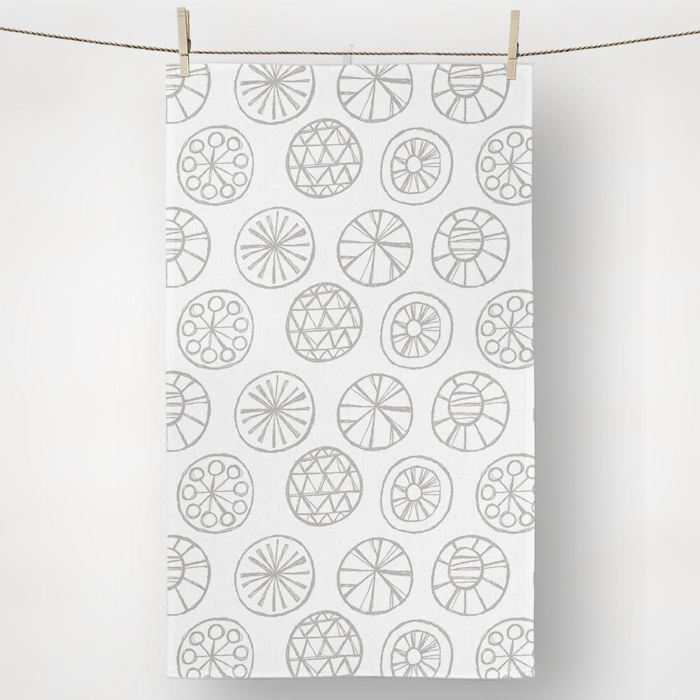 Gray and white textile circles pattern