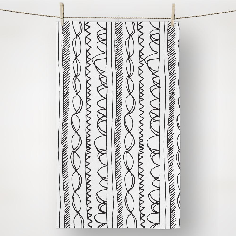 Black and White Pattern Chains Kitchen Towel
