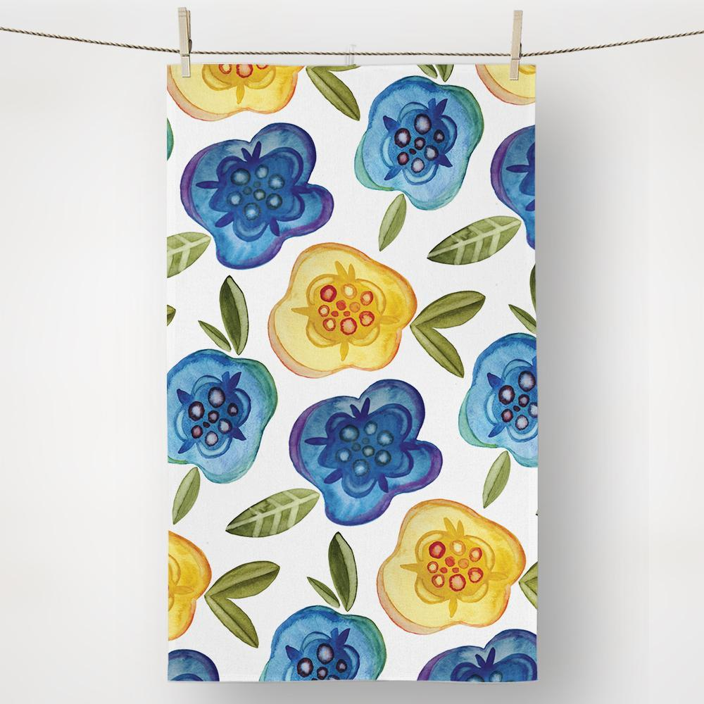 Quirky floral print yellow and blue