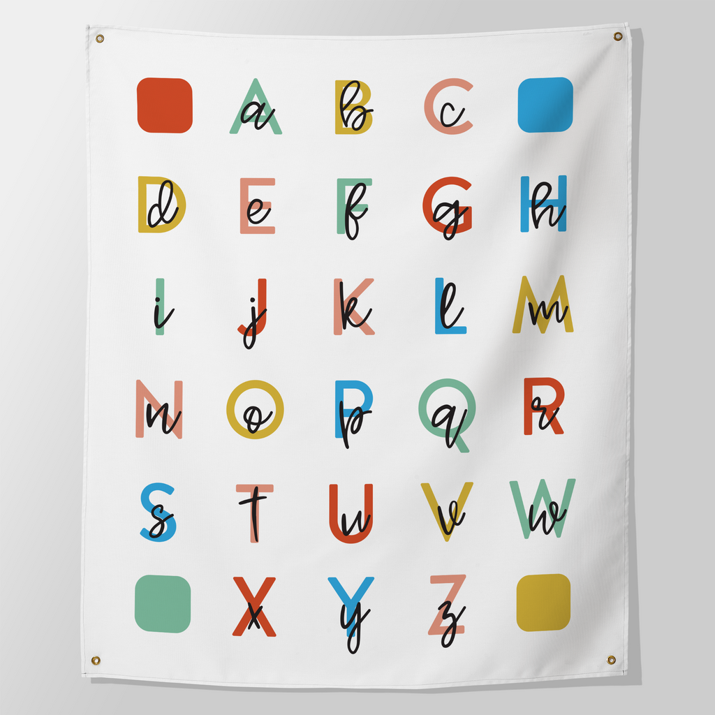 large alphabet wall print or tapestry