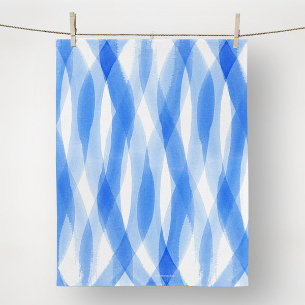 Sea blue tea towel by Carol Fazio