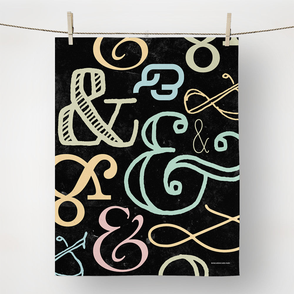 amperand colored tea towel with hints of pale color