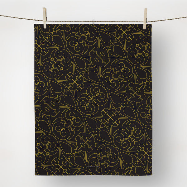 Black and Gold Regal Tea Towel with hanging loop
