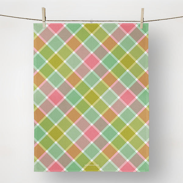 Ribbons of pink and green add lots of preppy fun, tea towel