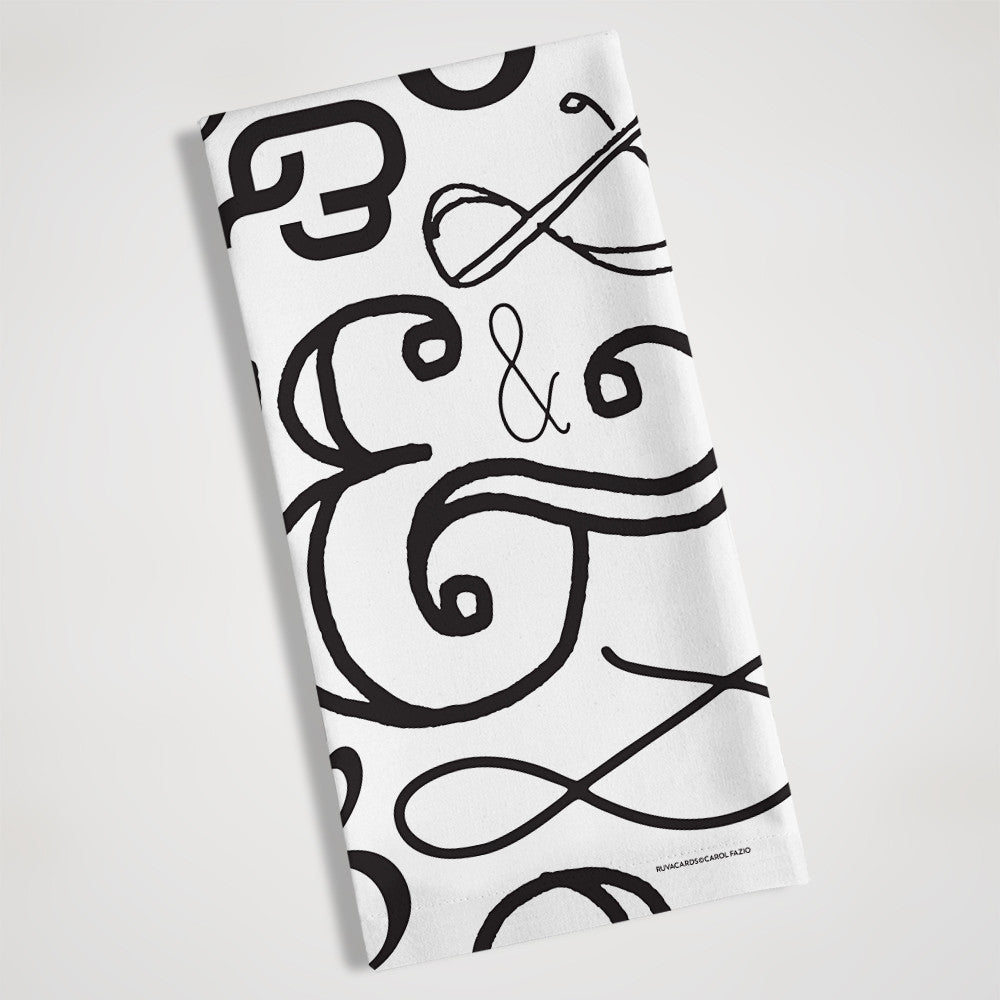 folded view of ampersand black and white tea towel
