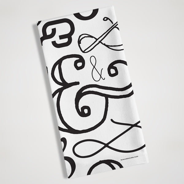 ampersand black and white tea towel