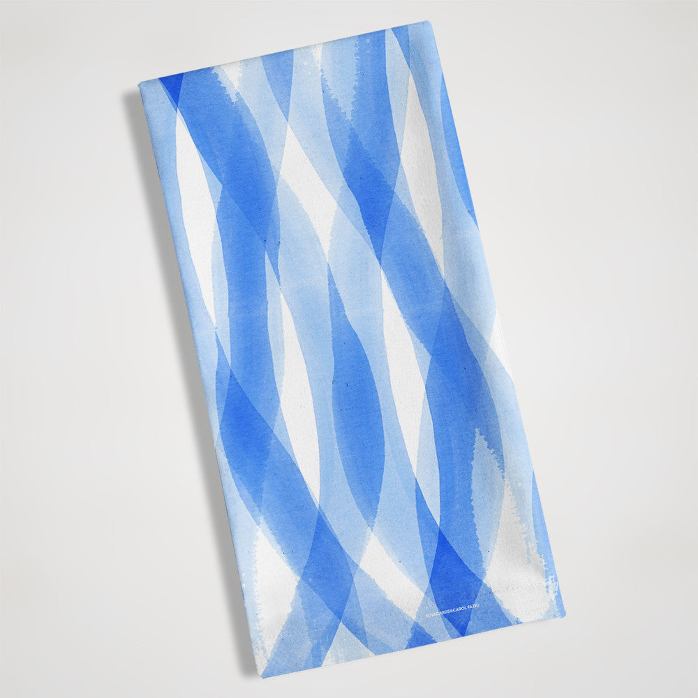 Sea blue tea towel by Carol Fazio folded view