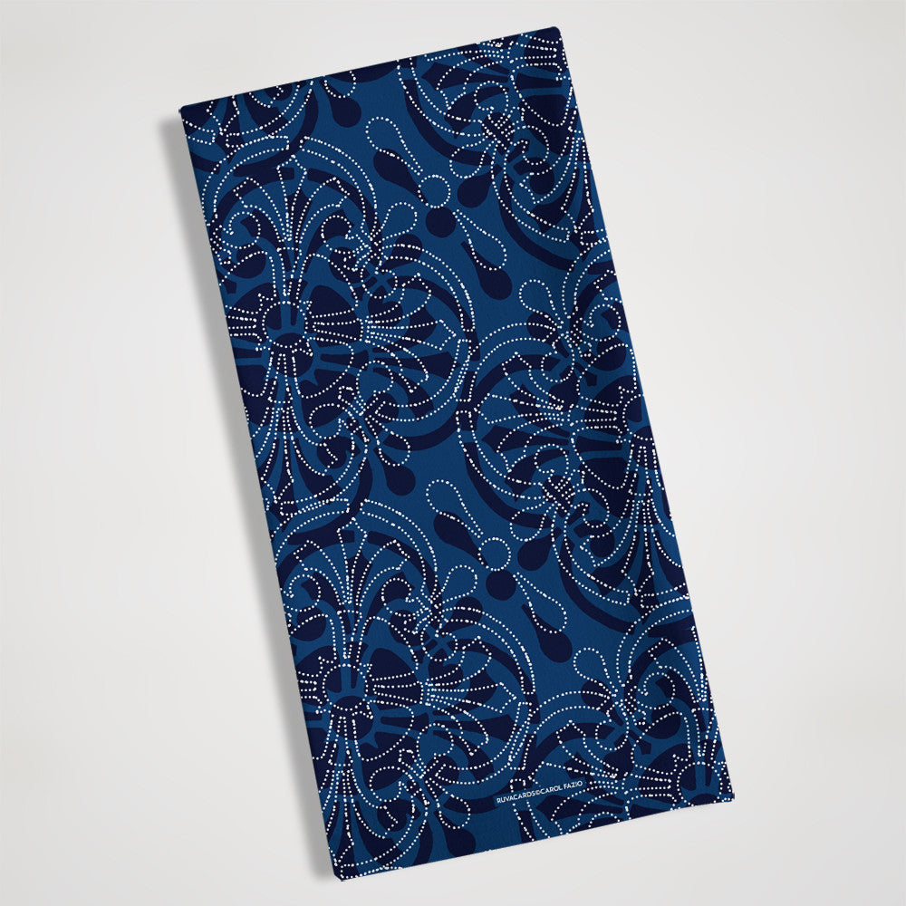 folded blue bandanna style kitchen towel