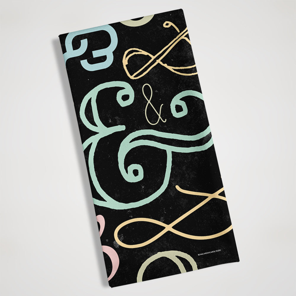 ampersand colored tea towel folded view