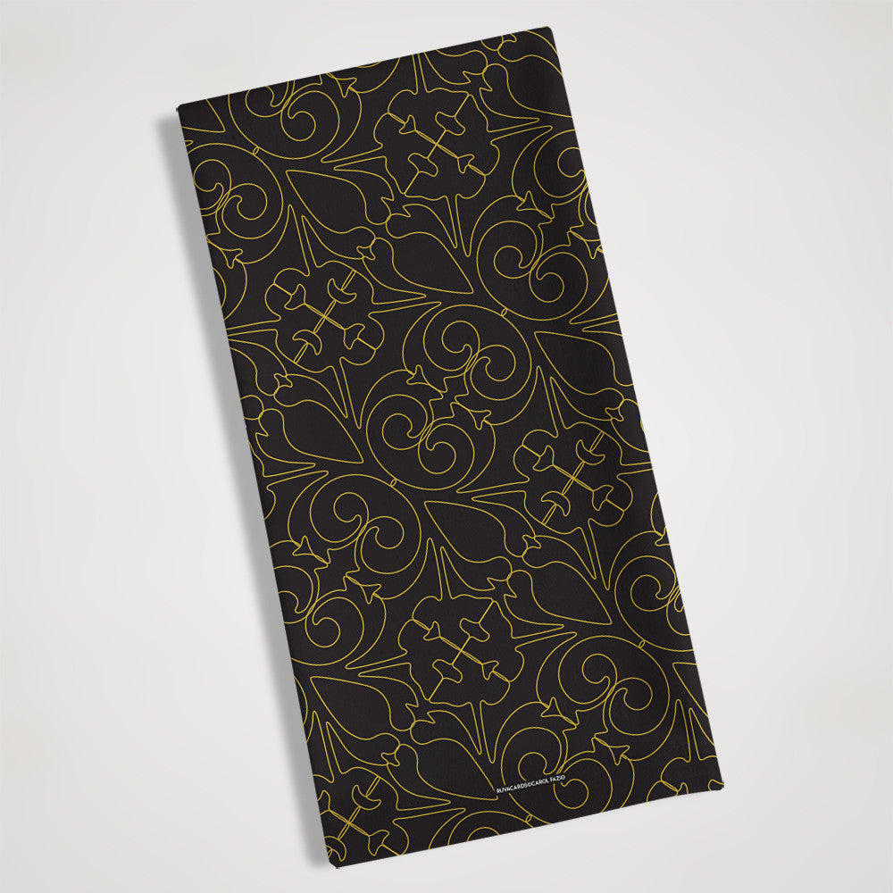 black and gold folded view tea towel