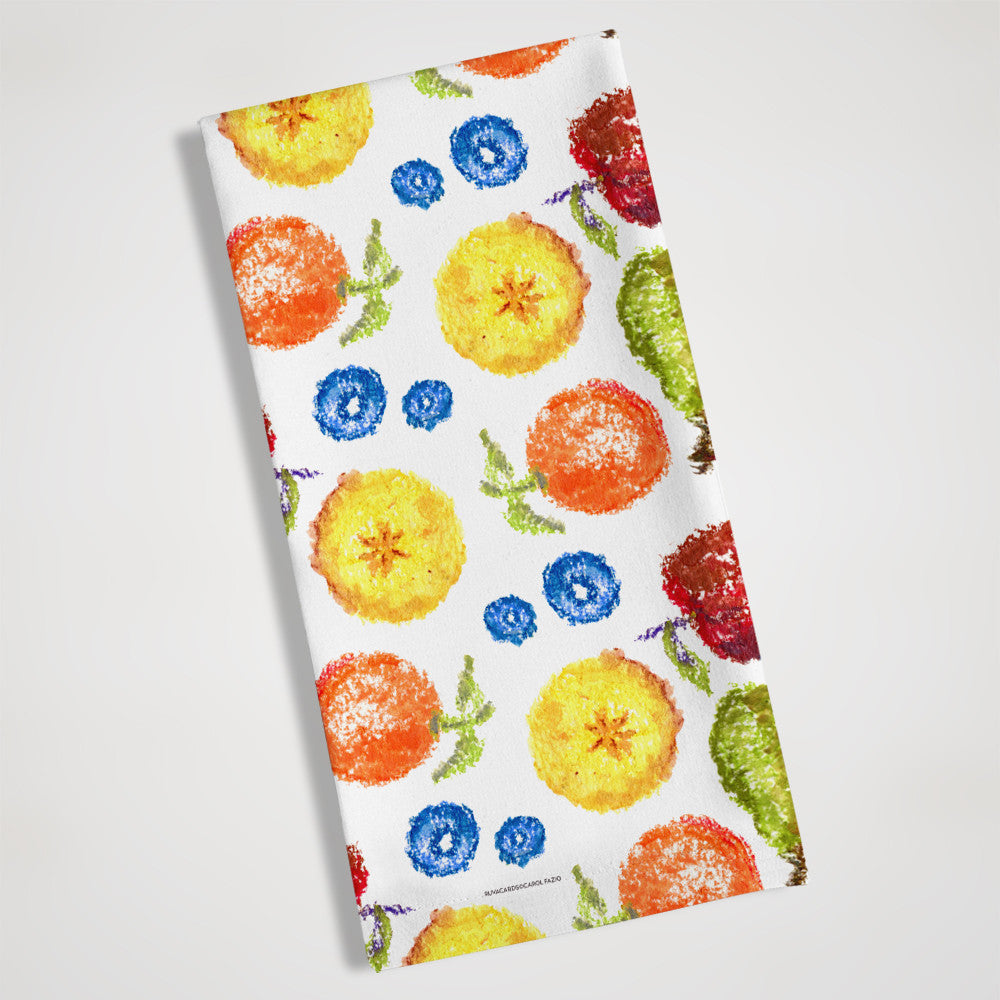 water color fruit tea towel