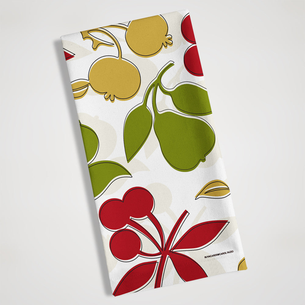 pears lemons fruit folded view tea towel