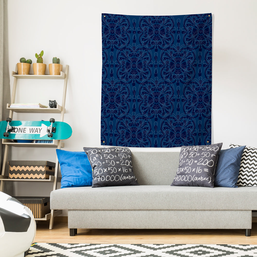 blue bandanna indigo wall decor tapestry over couch