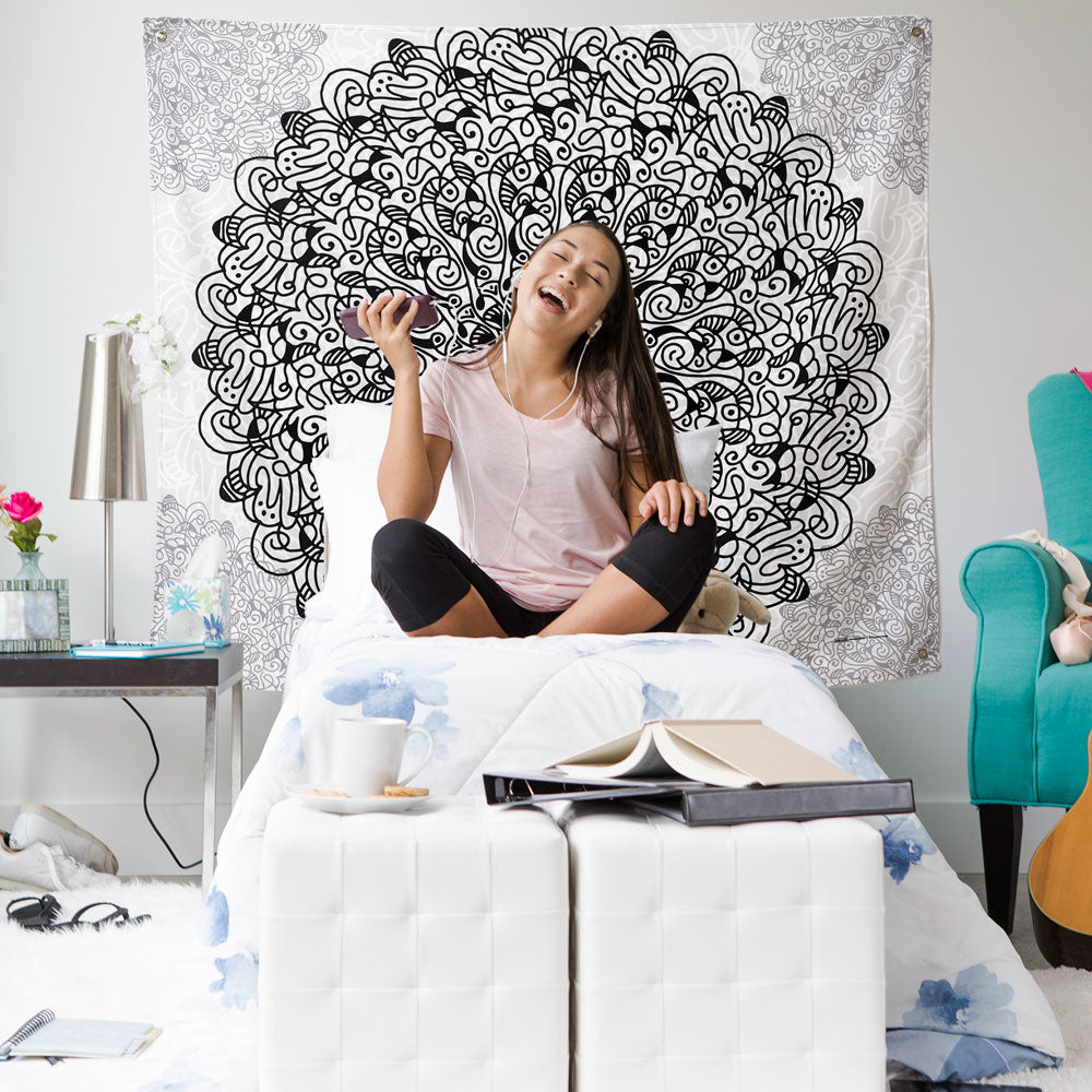 Mandala Black and White Indoor Outdoor Tapestry in dorm room or teen bedroom