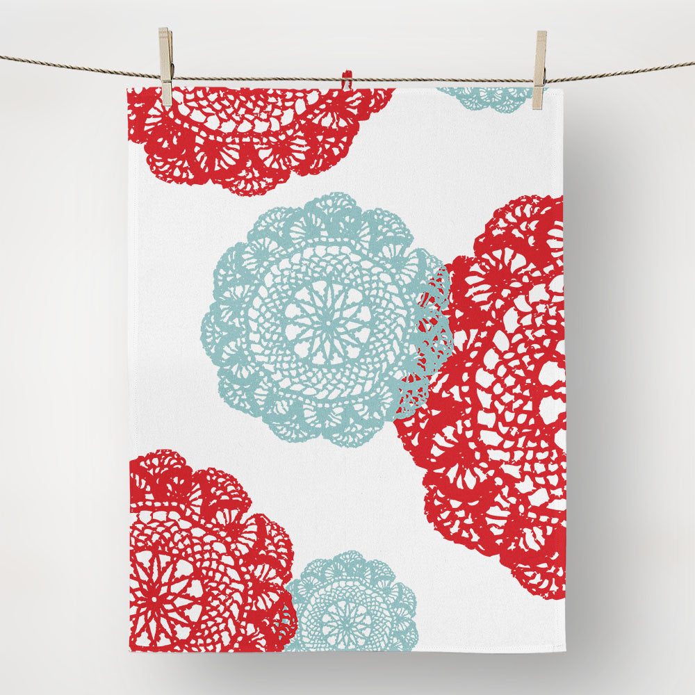red and teal Dollie tea towel
