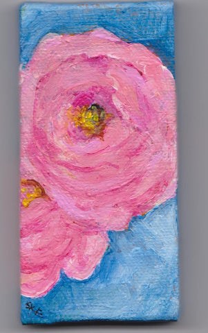 Roses mini canvas, pink roses mini canvas art, pink flower mini painting, mini easel, acrylic painting canvas art SharonFosterArt