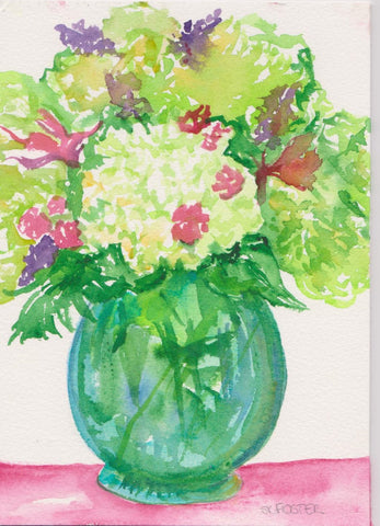 Hydrangeas watercolors paintings original, flower art, Vase, lime green hydrangeas watercolor painting, Original floral painting floral