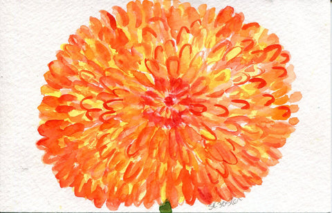 Zinnia Watercolor Painting Original, Orange Flower Painting, Small Floral Wall Art 4 x 6 original watercolor of orange zinnia floral