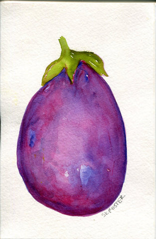 Eggplant watercolor painting, purple kitchen food art,  Purple eggplant, kitchen decor, original watercolor 4 x 6 aubergine Minimalist