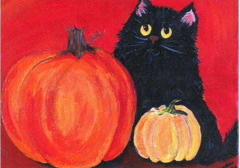 Black cat, pumpkins 8 x 10 PRINT from my acrylic painting canvas art, small Halloween cat painting, Halloween wall art, Halloween decor
