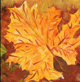 Fall Maple Leaf acrylic painting canvas art, red, yellow autumn leaves Maple,  original acrylics on canvas 3 x 3