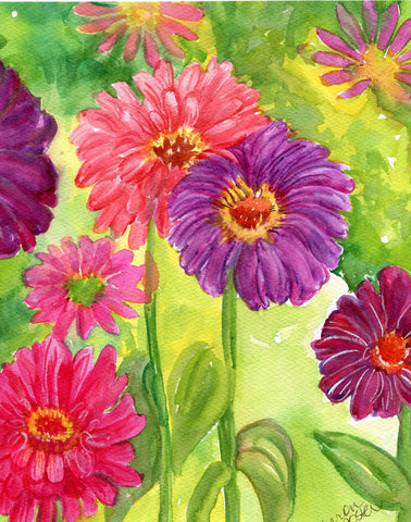 8 x 10 Zinnias watercolor painting original, watercolor painting, floral zinnia wall art, garden artwork, Flower art, watercolor flowers