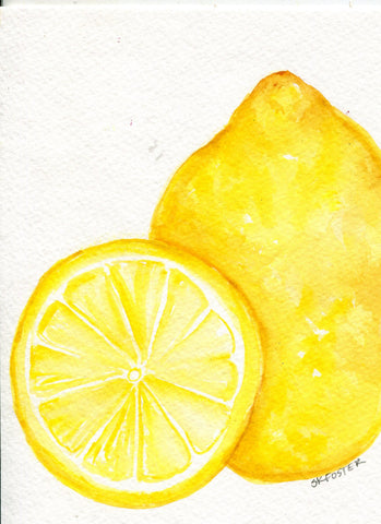 Lemons Watercolor Painting Original, Fruit Painting, Small Food Decor,  Kitchen Wall Art 5 x 7  watercolor art lemons, SharonFosterArt