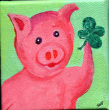 Shamrock Pig mini canvas art acrylic painting, shamrock, whimsical piggy art, whimsical pig art, small pig art, animal artwork,