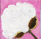 Cotton Boll acrylic mini canvas panel painting, Cotton Painting, Small Botanical Wall Art 4 x 4 cotton paintings original, acrylic painting