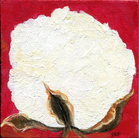 Cotton Boll acrylic mini canvas panel painting, Cotton Painting, Small Botanical Wall Art 4 x 4 farmhouse style original, acrylic painting