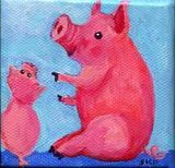 Mini pigs mini canvas art painting, original pig mini art easel, piglets canvas, acrylics miniature pink pig, pigs acrylic painting