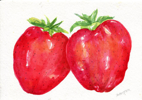 Strawberry Watercolor Painting  original ART, 5 x 7, Fruit, Farmhouse decor