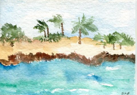 ACEO Aruba Seascape ORIGINAL WATERCOLOR Painting
