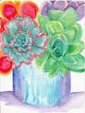 Original Colorful Succulents Watercolor Painting