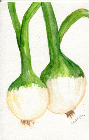 Spring Onions Original Watercolor Painting, Small Vegetable Painting, Kitchen Wall Art, 4 x 6 , kitchen decor, onion art ,kitchen art
