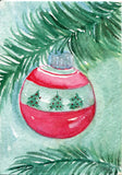 original ACEO Christmas ornament watercolor painting, small Christmas art card, original ACEO art, aceo card, SharonFosterArt